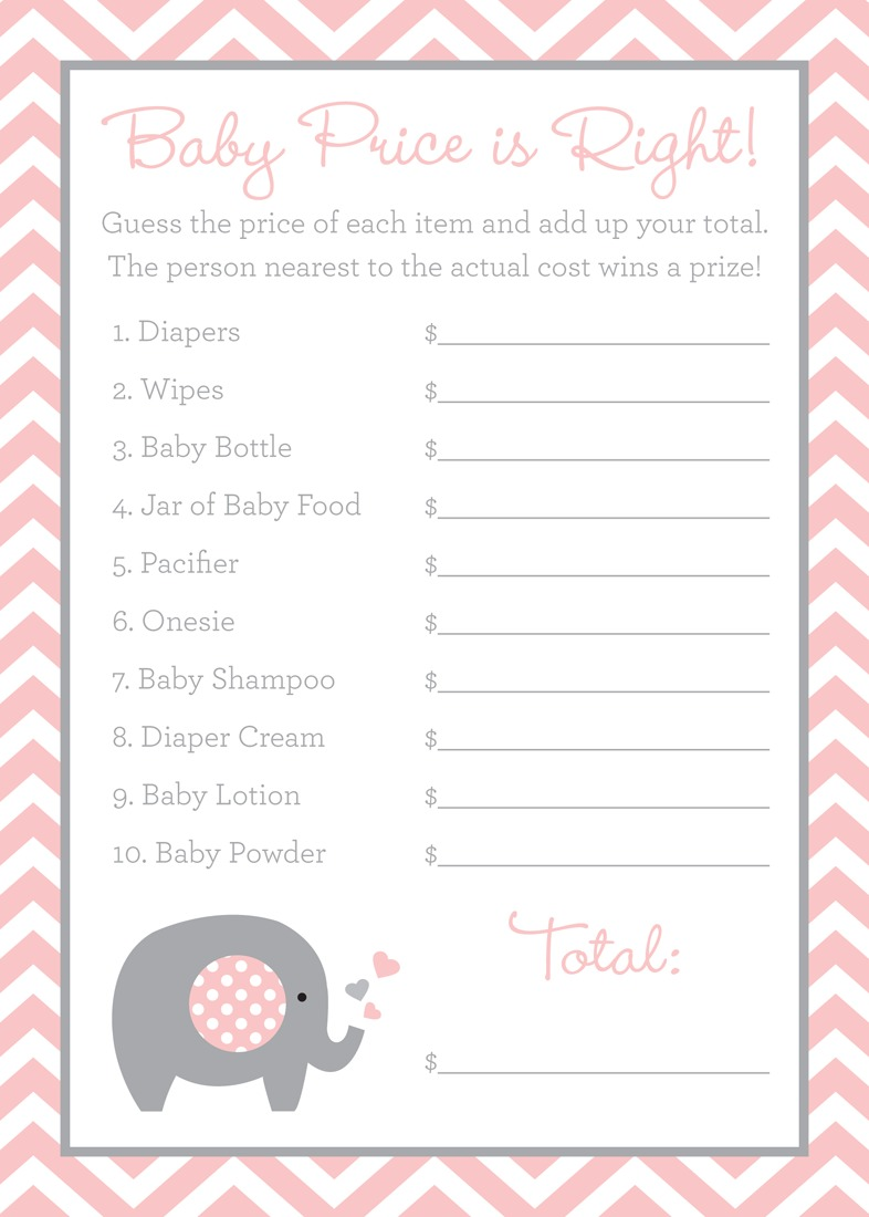 48 Cnt Pink Chevron Elephant Baby Wish Cards