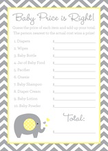 Grey Chevron Yellow Elephant Baby Shower Price Game