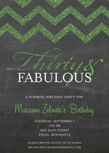 Fabulous Green Glitter Chalkboard Chevron Thirty Invites