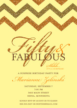 Fabulous Orange Brown Glitter Chevron Fifty Invites