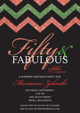 Holiday Green Red Glitter Chevron Fifty Invitations