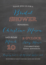 Simple Blue Text Arrangement Chalkboard Invitations