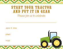 Green Tractor Multi Chevron Fill-in Invitations