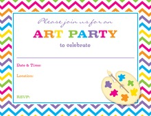 Multicolored Chevron Painter Pallet Fill-in Invitations