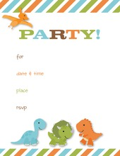 Multicolored Stripes Dinosaurs Fill-in Invitations