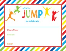 Multicolored Stripes Jumping Kids Fill-in Invitations