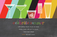 Multi-Colored Striped Cocktail Party Chalkboard Invites