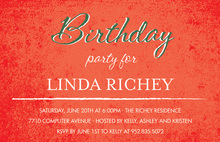 Rustic Birthday Script Red Invitations