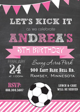 Pink Stripes Soccer Chalkboard Birthday Invitations