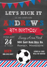 Red White Blue Stripes Soccer Chalkboard Invites