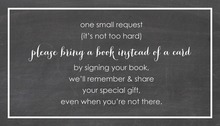 Whimsical Script Chalkboard Bring A Book Card