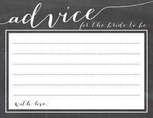 Whimsical Script Chalkboard Advice Cards Bride to Be