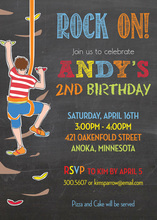 Rock Climbing Chalkboard Birthday Invitations