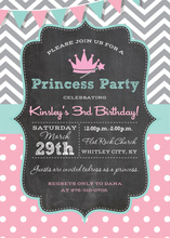Chevrons Polka Dots Princess Chalkboard Invitations