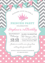 Chevrons Polka Dots Princess Party Banner Invitations
