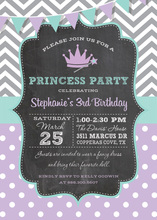 Grey Chevrons Purple Dots Princess Chalkboard Invites