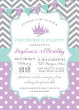 Grey Chevrons Purple Polka Dots Princess Invitations