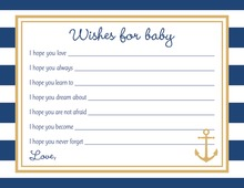 Navy Stripes Anchor Gold Baby Shower Wish Cards