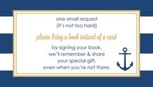 Navy Stripes Anchor Gold Bring A Book Card