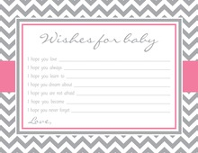 Grey Chevron Pink Border Baby Shower Wish Cards
