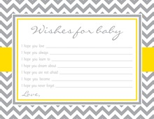 Grey Chevron Mustard Border Baby Shower Wish Cards