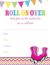 Pink Roller Skates Chevron Pattern Fill in Invitations