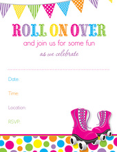 Pink Roller Skates Bright Dots Fill in Invitations
