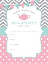 Pink Aqua Grey Tea Party Polka Dots Fill in Invitations
