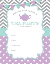 Purple Aqua Grey Tea Polka Dots Fill in Invitations
