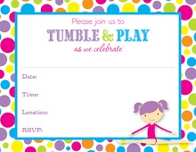 Gymnastics Girl Bright Dots Border Fill in Invitations