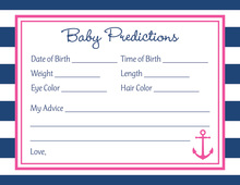 Navy Stripes Pink Anchor Baby Prediction Cards