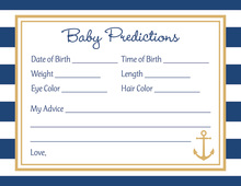 Navy Stripes Gold Anchor Baby Prediction Cards
