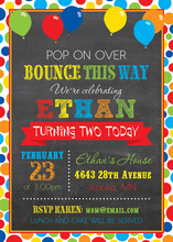 Multicolored Balloons Dot Frame Chalkboard