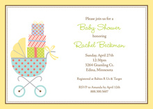 Aqua Baby Buggy Yellow Border Shower Invitations