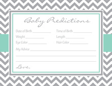 Grey Chevron Aqua Border Baby Predictions