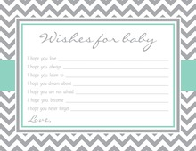 Grey Chevron Pink Border Baby Wish Cards