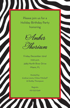 Wild Zebra Skin Green Frame Invitations