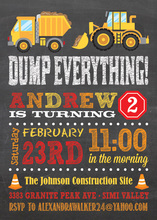 Construction Trucks Chalkboard Birthday Invitations