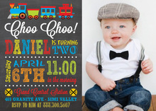 Choo Choo Train Chalkboard Photo Birthday Invitations