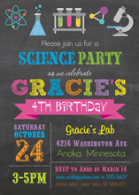 Bright Colors Science Girl Chalkboard Birthday Invites