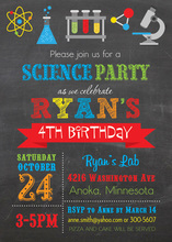 Multicolored Science Chalkboard Birthday Invitations