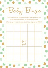 Mint Gold Dots Baby Shower Bingo Cards