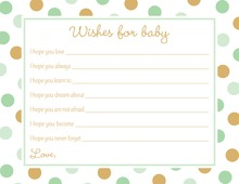 Mint Gold Dots Baby Shower Wish Cards