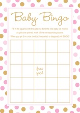 Pink Gold Dots Baby Shower Bingo Cards