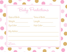 Pink Gold Dots Baby Shower Prediction Cards