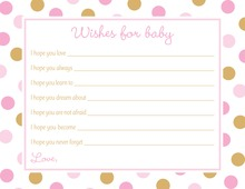 Pink Gold Dots Baby Shower Wish Cards