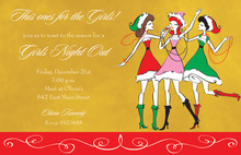 Three Christmas Santa Girls Gold Invitations