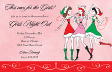 Three Christmas Santa Girls Blush Invitations