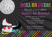Pink Roller Skates Disco Ball Girl Birthday Invitations