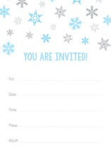 Blue Snowflakes Fill-in Holiday Invitations